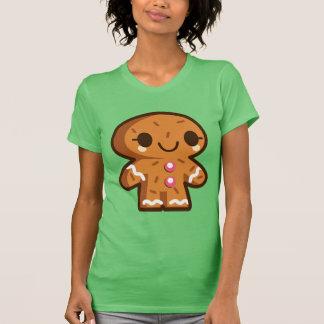 Cute Gingerbread Man Christmas Green Ladies Shirt