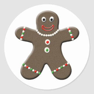 Cute Gingerbread Man Christmas Sticker