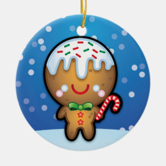 Cute Gingerbread Man Christmas Tree Decoration Round Ceramic Decoration