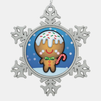 Cute Gingerbread Man Christmas Tree Decoration Pewter Snowflake Decoration