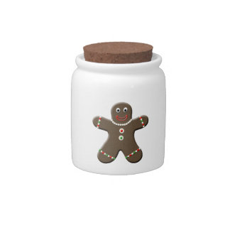 Cute Gingerbread Man Cookie Christmas Candy Jar