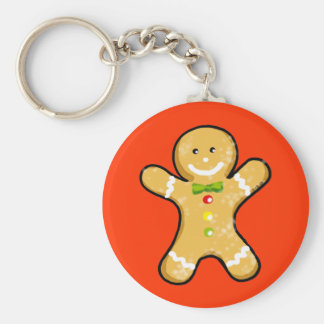 Cute gingerbread man cookie basic round button key ring