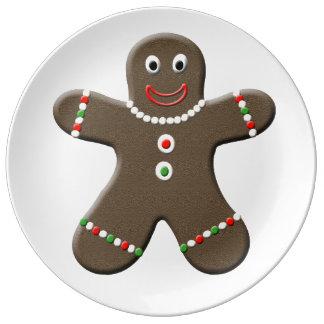 Cute Gingerbread Man Decorative Christmas Porcelain Plate