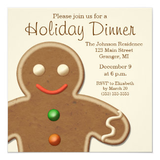 Cute Gingerbread Man Holiday Party 13 Cm X 13 Cm Square Invitation Card