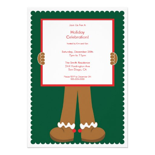 Cute Gingerbread Man Holiday Party Invitation 13 Cm X 18 Cm Invitation ...