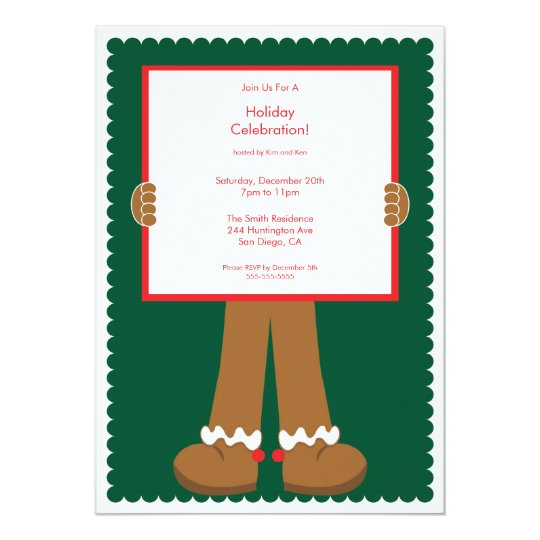 Cute Gingerbread Man Holiday Party Invitation