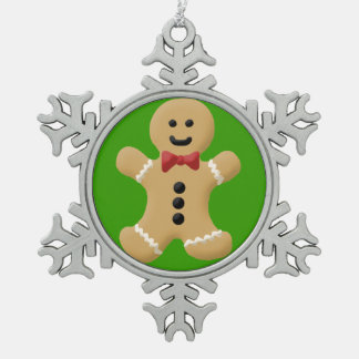 Cute Gingerbread Man on Green Pewter Ornament