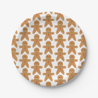 Cute Gingerbread Man Pattern Paper Plate