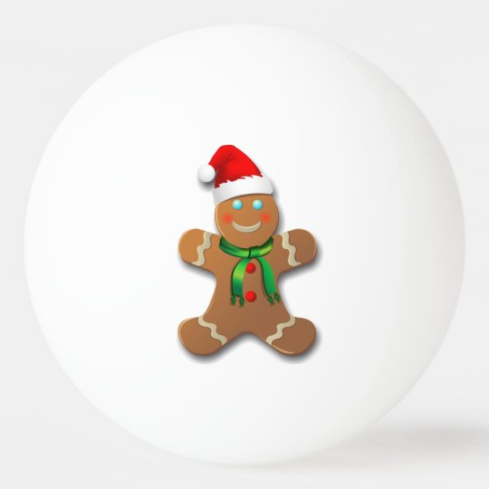 Cute Gingerbread Man With A Red Santa Hat
