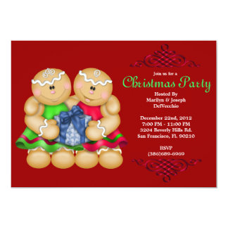 CUTE Gingerbread Men with Present With Red Border 13 Cm X 18 Cm Invitation Card