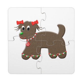 Cute Gingerbread Puppy Dog Christmas Holiday Puzzle Coaster