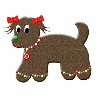 Cute Gingerbread Puppy Dog Christmas Photo Cut Outs