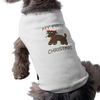 Cute Gingerbread Puppy Dog Christmas Sleeveless Dog Shirt