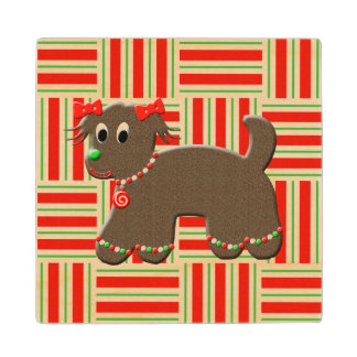 Cute Gingerbread Puppy Dog Holiday Christmas Wood Coaster