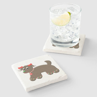 Cute Gingerbread Puppy Dog Holiday Christmas Stone Beverage Coaster