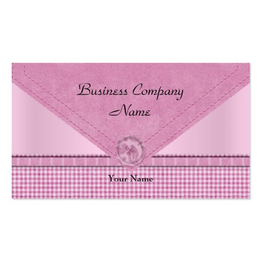 Cute Gingham Pink White Check Button Business Card Template