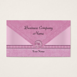 Cute Gingham Pink White Check Button Business Card
