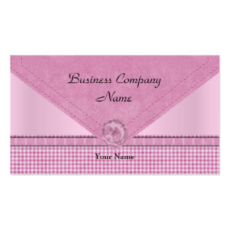 Cute Gingham Pink White Check Button Pack Of Standard Business Cards