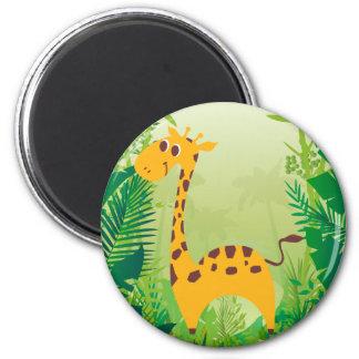 Cute Giraffe 6 Cm Round Magnet