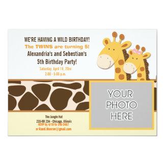 Cute Giraffe African Animals *PHOTO* Birthday 5x7 13 Cm X 18 Cm Invitation Card