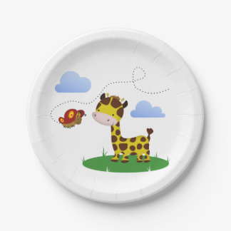 Cute Giraffe and Butterfly - Paper Plate