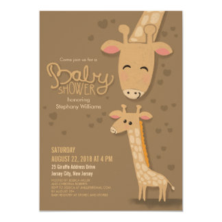 Cute Giraffe and Mommy Baby Shower Invitation