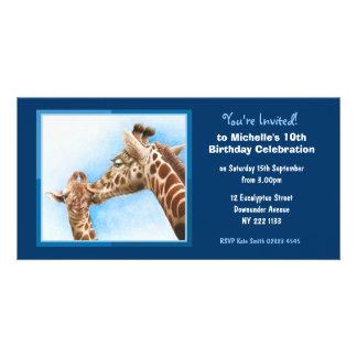 Cute Giraffe Birthday Invitation Photo Card
