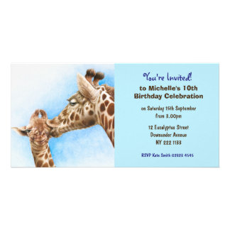 Cute Giraffe Birthday Invitation Photo Card