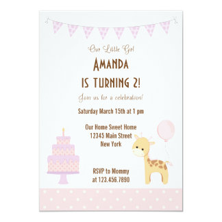 Cute Giraffe Birthday Party Invitation