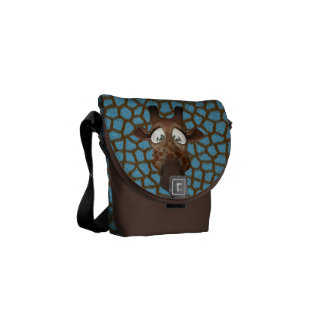 Cute Giraffe Brown & Blue Faux Fur Pattern Courier Bags