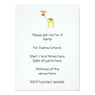 Cute Giraffe. Cartoon. 17 Cm X 22 Cm Invitation Card