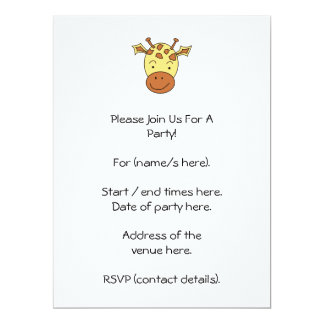 Cute Giraffe Cartoon. 17 Cm X 22 Cm Invitation Card