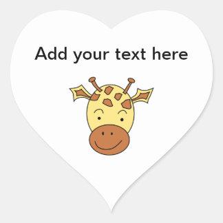 Cute Giraffe Cartoon. Heart Sticker