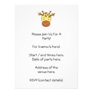 Cute Giraffe Cartoon Personalized Invites