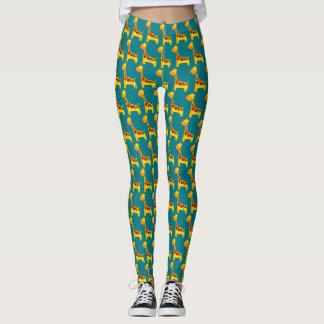 Cute giraffe cartoon leggings
