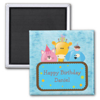 Cute Giraffe Cat & Dog Personalized Happy Birthday Square Magnet