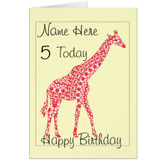 Cute Giraffe Child's Personalised  Age Birthday Ca Greeting Card