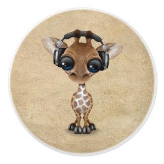 Cute Giraffe Cub Dj Wearing Headphones Ceramic Knob
