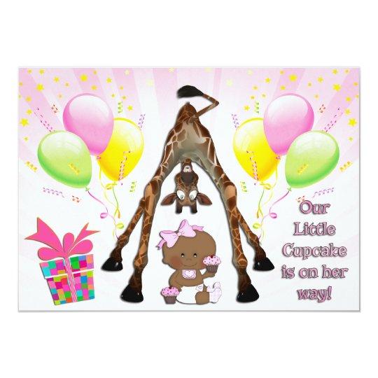 Cute Giraffe Ethnic Baby Girl Cupcakes Baby Shower