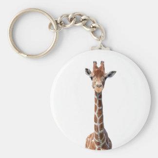 Cute giraffe face basic round button key ring