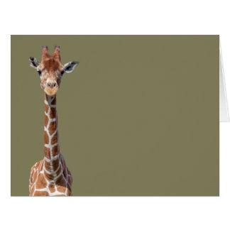 Cute giraffe face big greeting card