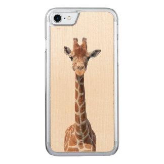 Cute giraffe face carved iPhone 7 case