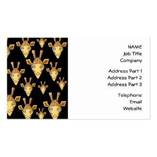 Cute Giraffe Faces, on Black. Business Card Template