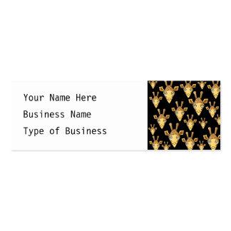 Cute Giraffe Faces, on Black. Business Card Templates