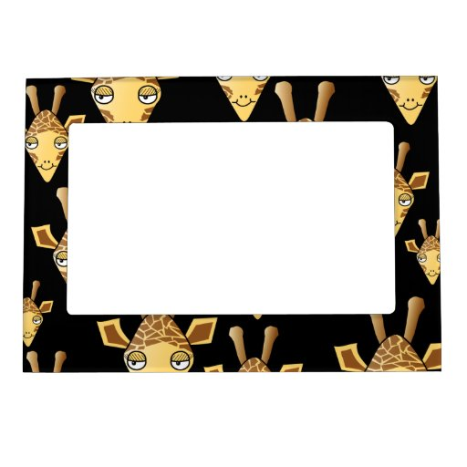 Cute Giraffe Faces, on Black. Picture Frame Magnets