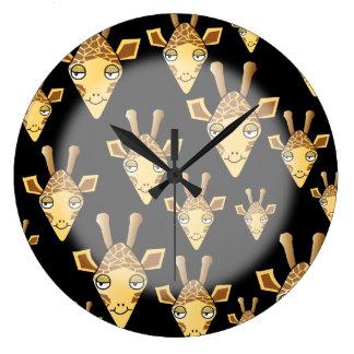 Cute Giraffe Faces, on Black. Wall Clocks