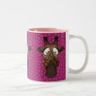 Cute Giraffe Faces Pink Animal Fur Pattern Mug