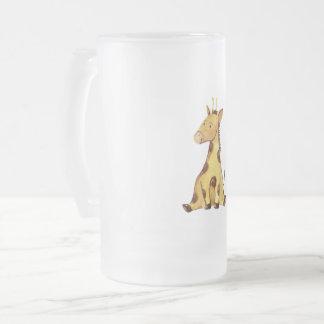 Cute Giraffe Frosted Glass Beer Mug