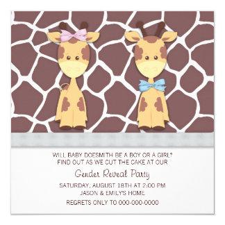 Cute Giraffe Gender Reveal Party Card