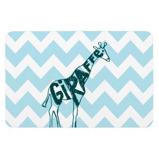 Cute Giraffe Hand Drawn Sketch on Blue Chevron Flexible Magnets